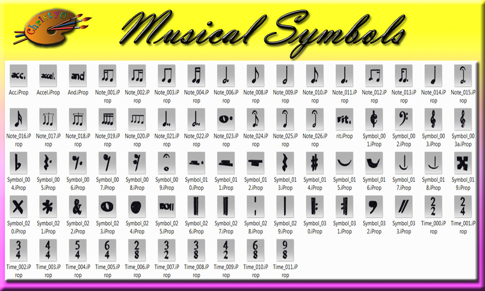 Music symbols and names product name musical notes