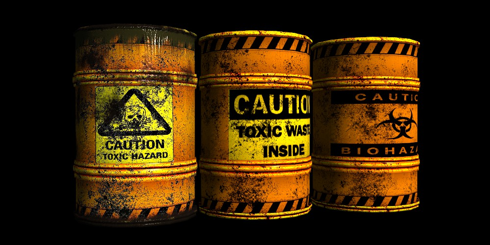 Toxic waste barrels in Reallusion city